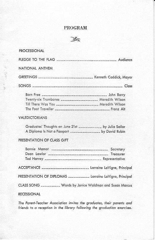 Graduation Program  Myra Bradwell School Class Of